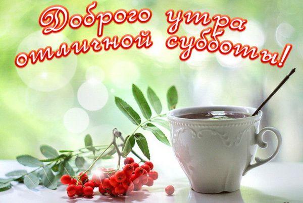 Ветка рябины и чашка бодрящего кофе