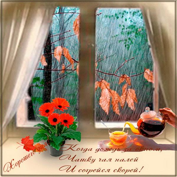 Когда дождь за окном, чашку чая налей и согрейся скорей