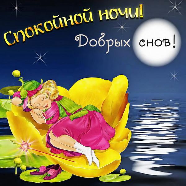 Картинка со словами спокойной ночи и добрых снов
