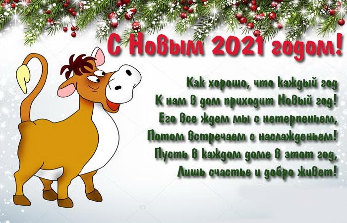 Картинка с поздравлением на Новый год Быка